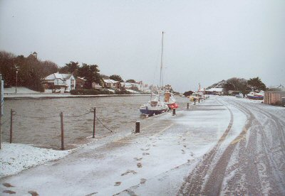 Bude lower basin with a wintry coating of snow - unusual!