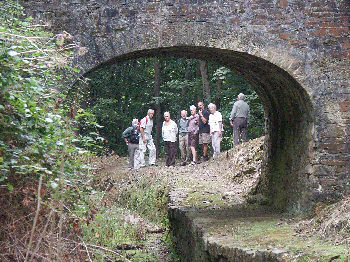 Walkers inspecting the retored bridge