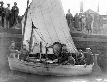 Sailing boat with caught fish handing on show 1933
